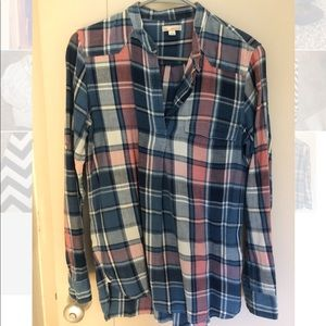 GAP Flannel Blue and Peach Flannel Tunic
